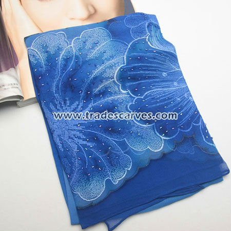 High Quality embroidery beaded silk scarf bondage 2015