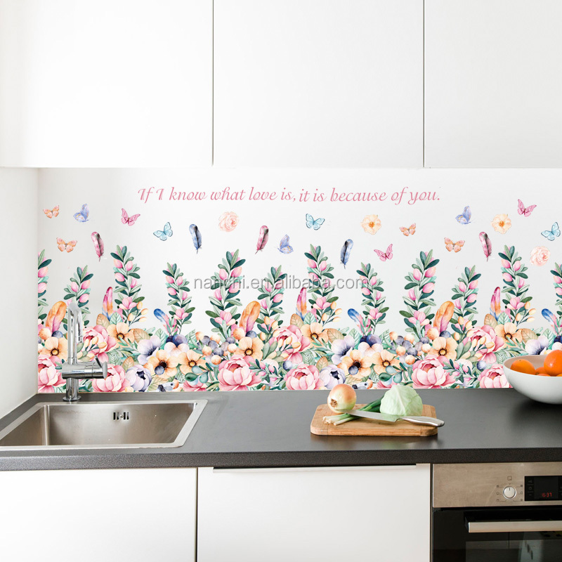 Floral baseboard Stickers walls paper flower Home wall wall decor Removable Pvc Decorations flower wall paper