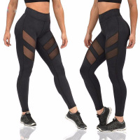 Sexy Women Wholesale Mesh Splice Running Tights Yoga Pants Gym Yoga Leggings