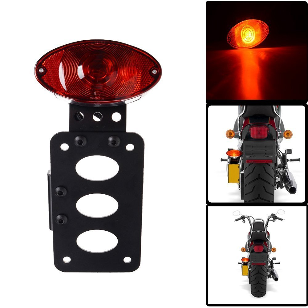 TUINCYN Red Motorcycle Tail Light With License Plate Holder Black Heavy Duty Motorbike 12V Indicators Blinkers Lights Brake Stop Running Light For Harley Aprilia BMW Ducati Suzuki Yamaha 1-Pack