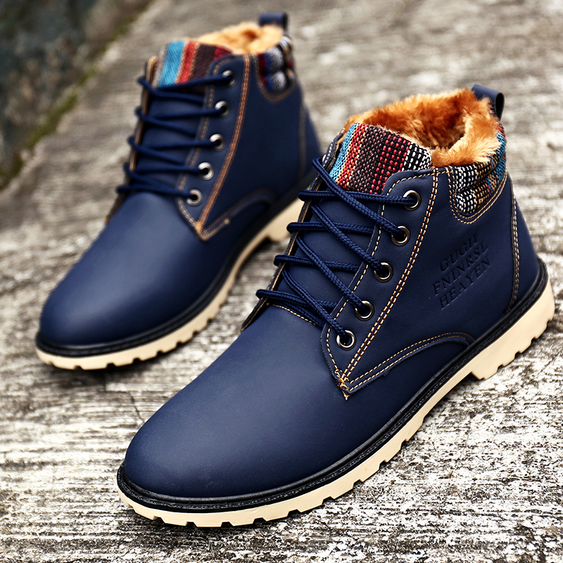Men Winter Boots Waterproof Fashion Blue Boots with Fur ...
