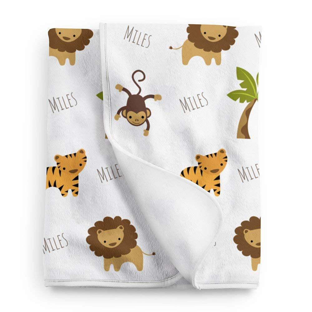 Personalized Fleece Jungle Animals Baby Blanket, Jungle Nursery