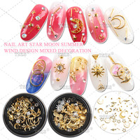 Mixed Gold Copper Nail Rivet Shell Pineapple Star Moon Design Punk Nail Jewelry 3D Nail Art Decoration