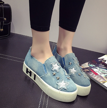 5787ad0dd0d Denim Jeans Shoes Canvas Girl Loafer Shoes For Women Lady - Buy Girl ...