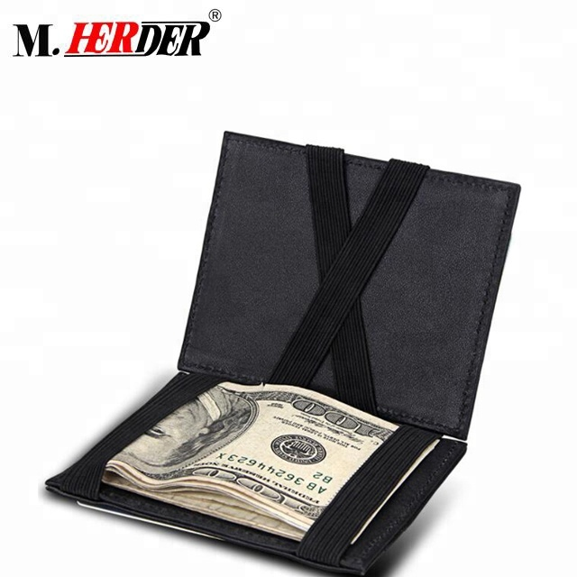 China supplier leather gents money clip thin <strong>wallet</strong> 4 slots magic <strong>wallet</strong> men