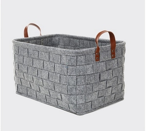 Wholesale weaving storage felt laundry basket with leather handles