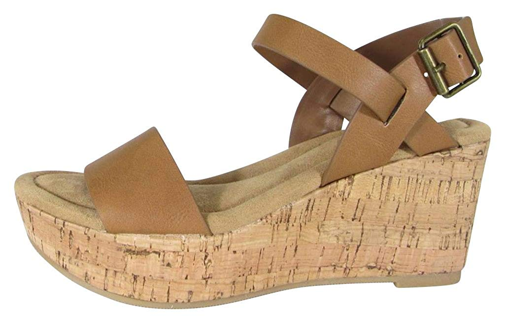 292b3361f04 Get Quotations · Cambridge Select Women s Buckle Ankle Strappy Cork Platform  Wedge Sandal