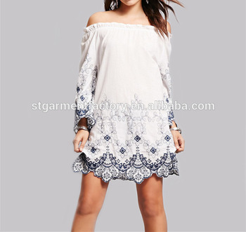 8ddf5d1fe60 Mexico Women Sexy Off Shoulder Top White Floral Embroidery Skirt For Lady  Loose Plus Size Party
