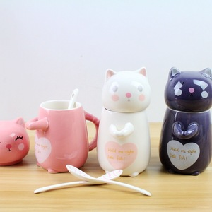Creative Black and pink Cup Cute Cat Coffee Mugs Ceramic Cups With Spoon Milk Breakfast Cup Travel Bottle For Water For Coffee
