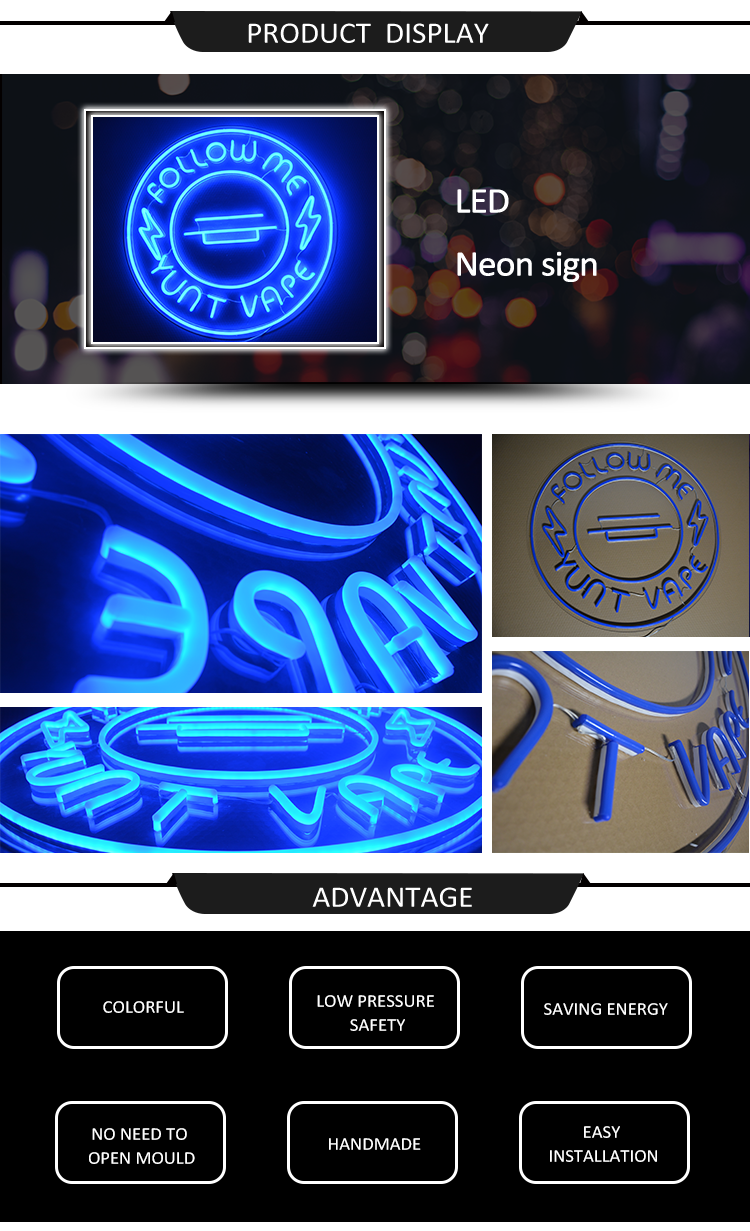 Commercio all'ingrosso ha condotto le luci al neon della flessione segno custom made lettere led bar sign