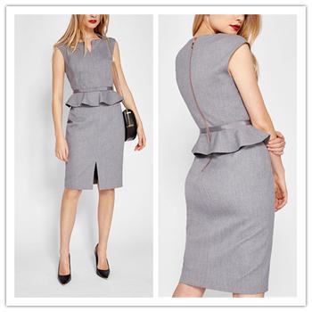 Sleeveless Ruffled Grey Peplum Dresses Work Wear Women Formal Dress