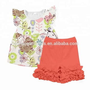 Kids Many Animals Print Pearl Top With Icing Ruffle Short Outfit, Children Clothing Girls Boutique