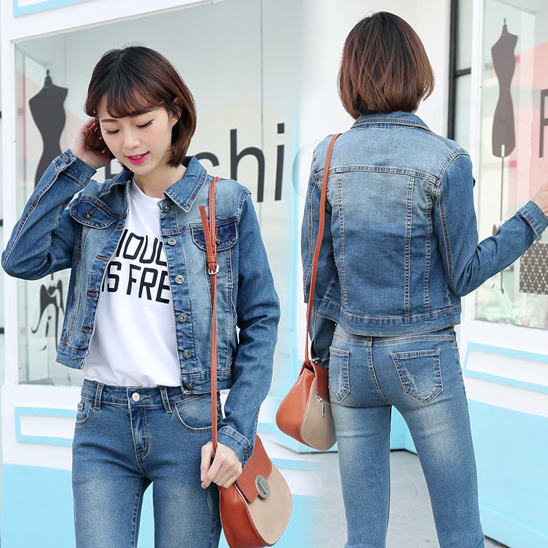 In Stock Blue Color Smart Casual Women Slim Fit Denim Jacket Skinny
