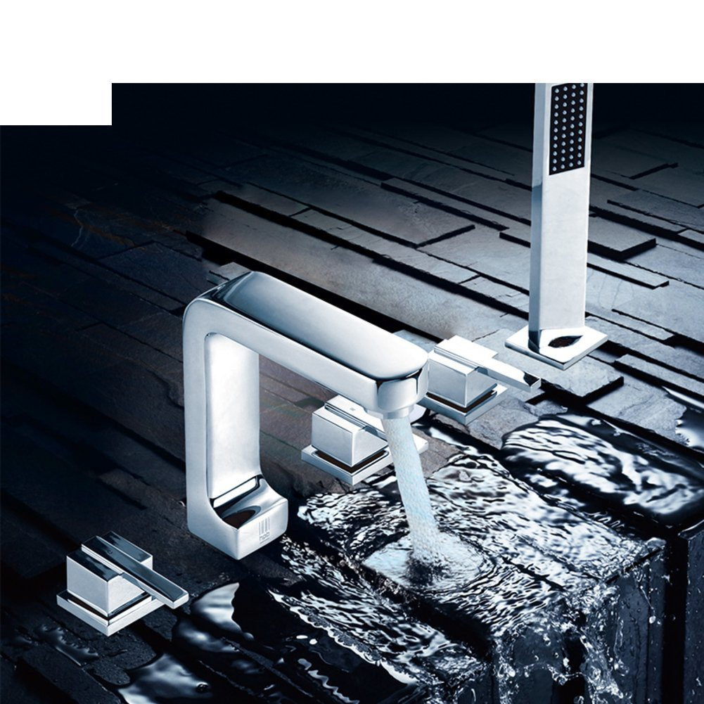 All copper hot and cold split/Sit Down/Cylinder edge formula/Five-piece bathtub faucet/Bathtub faucet floor edge-A