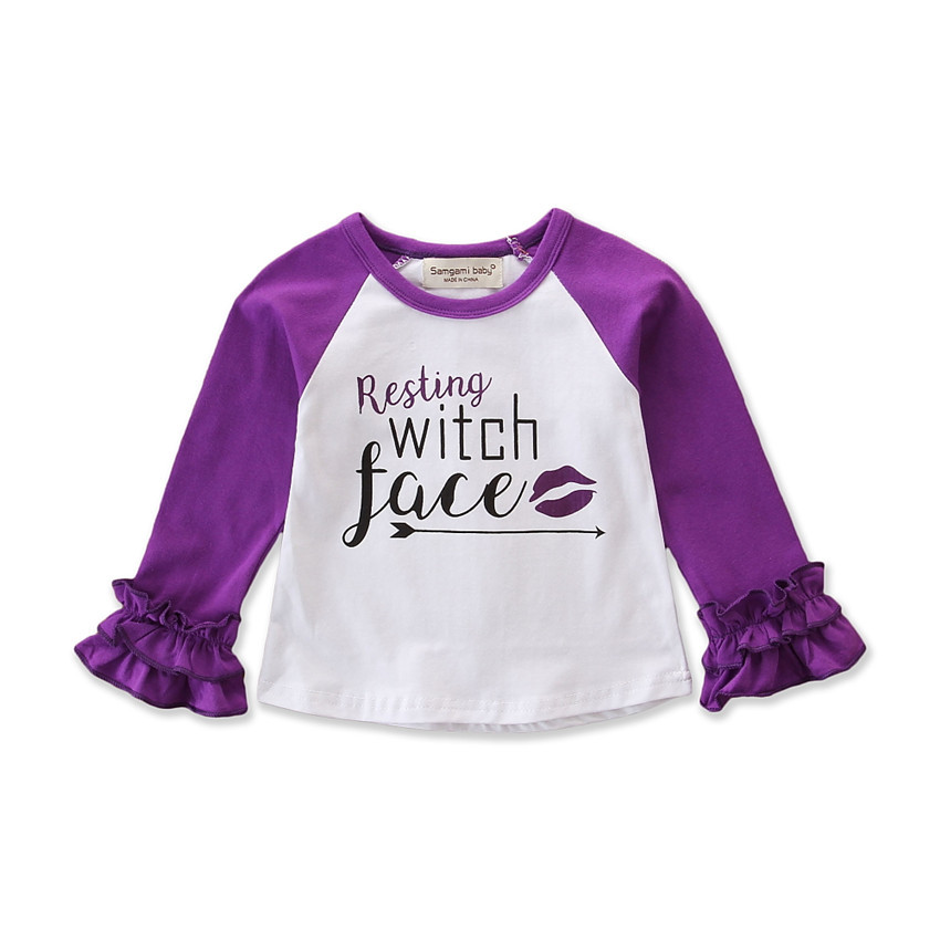 Halloween Festival Bulk Wholesale Icing Girls Purple Clothing Baby Long Sleeve Ruffle Raglan Clothes Shirts