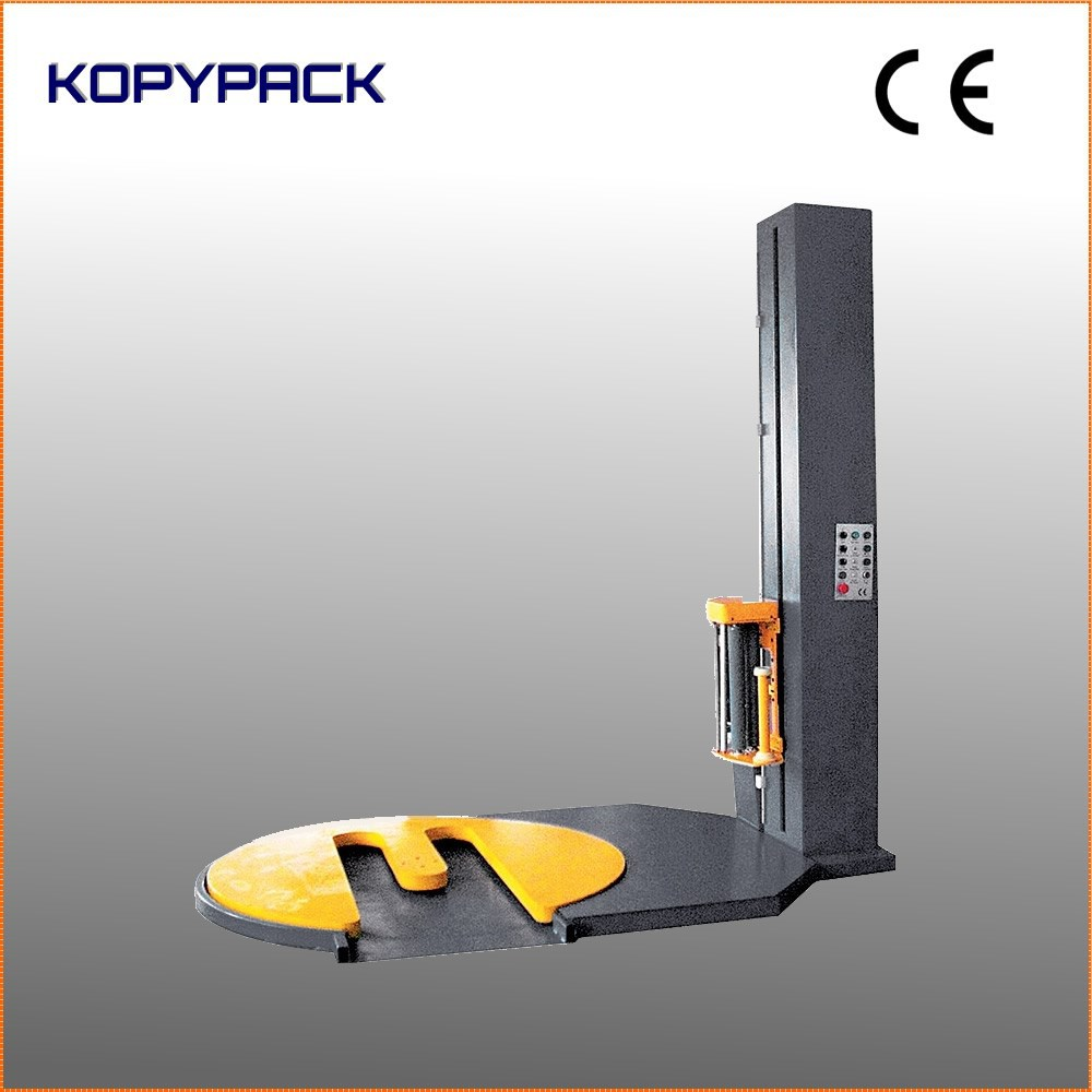 fork lift pallet shape turntable pre-stretch wrapping machine