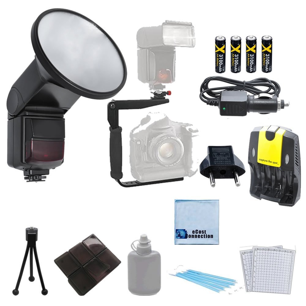 Universal Automatic Zoom and Bounce Flash with Flip Diffusor + 180 Degree Quick Flip rotating Flash Bracket + 4 Rechargeable AA Batteries with AC/DC Car/Home Charger + Complete Deluxe Starter Kit w/ 6pc Memory Card Case + a Mini Tripod & More for Olympus E5, E-P15, E-620, E-P1, E-P2, E-P5, E30,