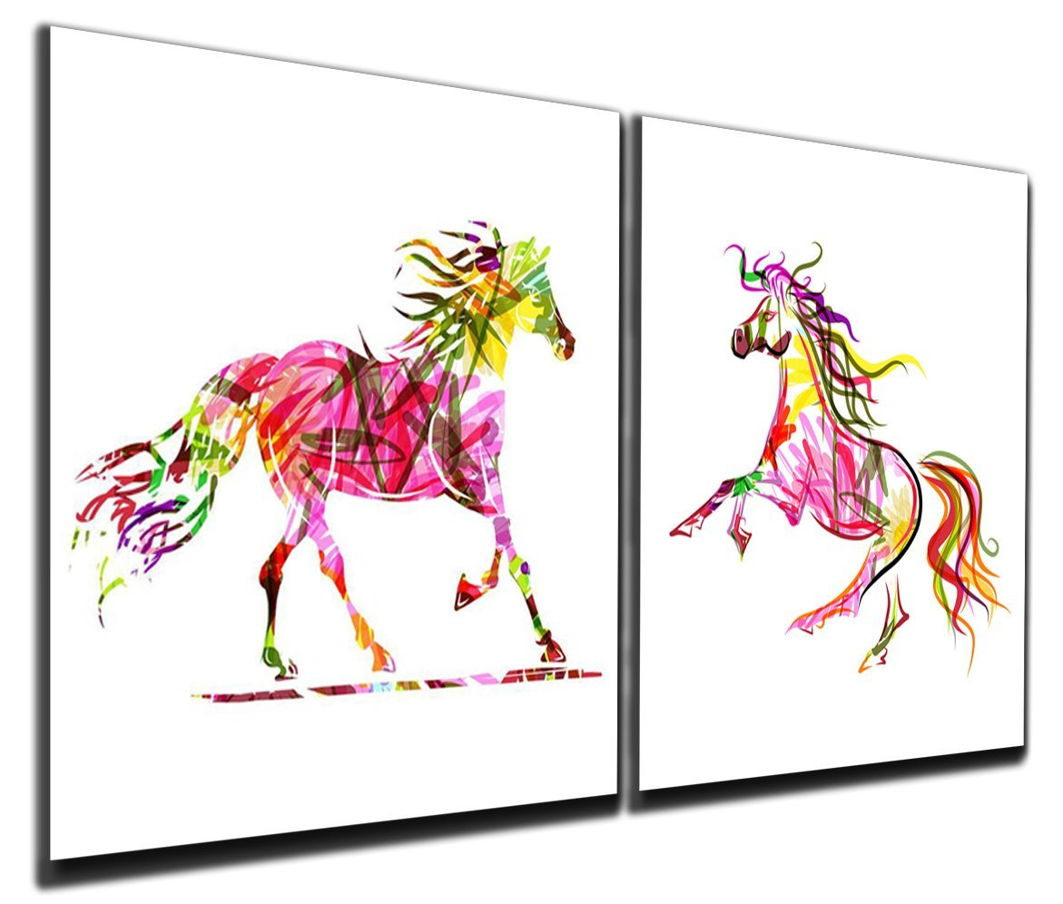 Buy Gardenia Art - Colorful Running Horses Canvas Prints Modern Wall ...