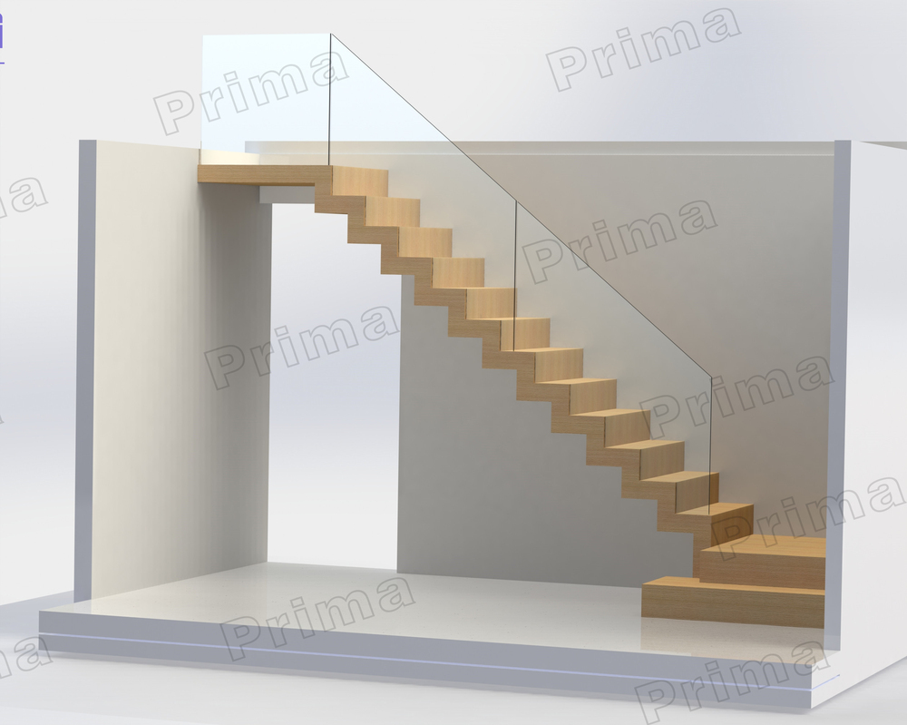 Indoor Wooden Design L Shaped Stairs With Stainless Steel Glass Handrail