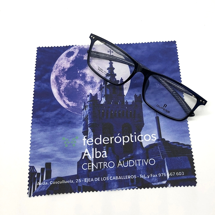 Hot Sale Personalized Full Color Digital Printing Logo Eyeglass Cleaning Cloth, Popular black color;customized color is available