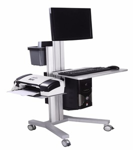 Adjustable height stand up desk hospital medical mobile computer workstation cart trolley with monitor mount