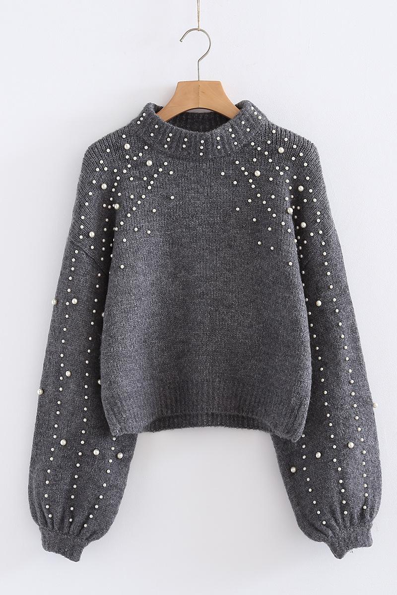 5de5b123791e 2019 Pearl Beaded Rib Knit Jumper Winter Sweater Womens Pullover ...