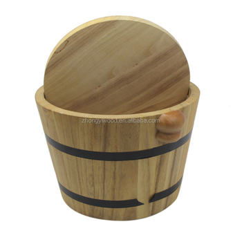 Personalized Natural and simple Wooden Bucket with lid and handle