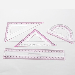 Promotional geometric 20cm 4 PC plastic ruler set , school ruler set , school geometry set