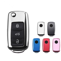 Silver Soft TPU Car Remote Key Case Cover FOB Protection Fit For Volkswagen