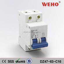 2P 16A C type 240V/415V C45 MINI CIRCUIT BREAKER/MCB 2P/electrical mcb