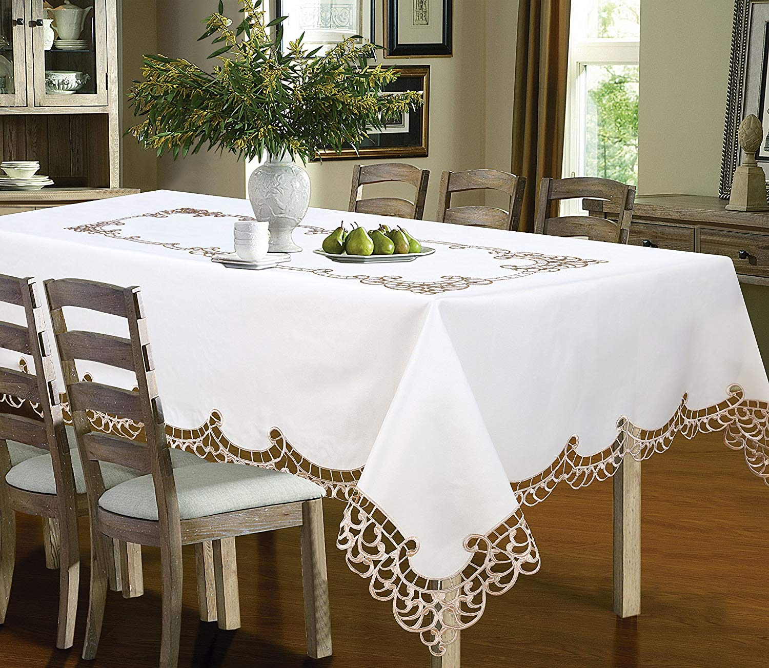 superior Cheap Table Cover Ideas Part - 18: Get Quotations · Royal Bedding Holland Table Cloth, Luxury Embroidered and  Hand Cutwork Table cloth, Top Dinner