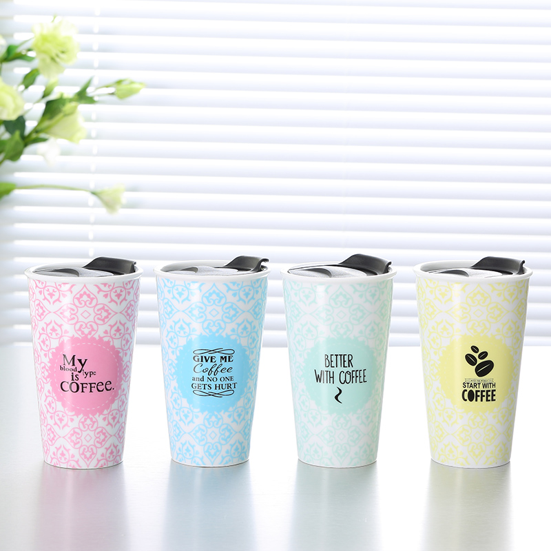 280cc reusable keep thermo coffee to go travel cup double wall ceramic mug