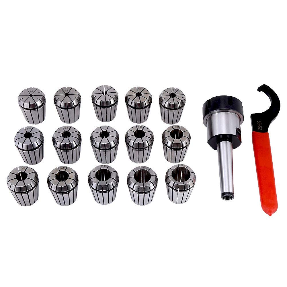 ER32 Collet Chuck Holder Straight Shank Extension Wrench CNC Arbor Set, Spring Steel Collet Chuck Tool for Milling Machine with Box (MT2 Shank Holder Rod+ Wrench+ ER32 Collets)