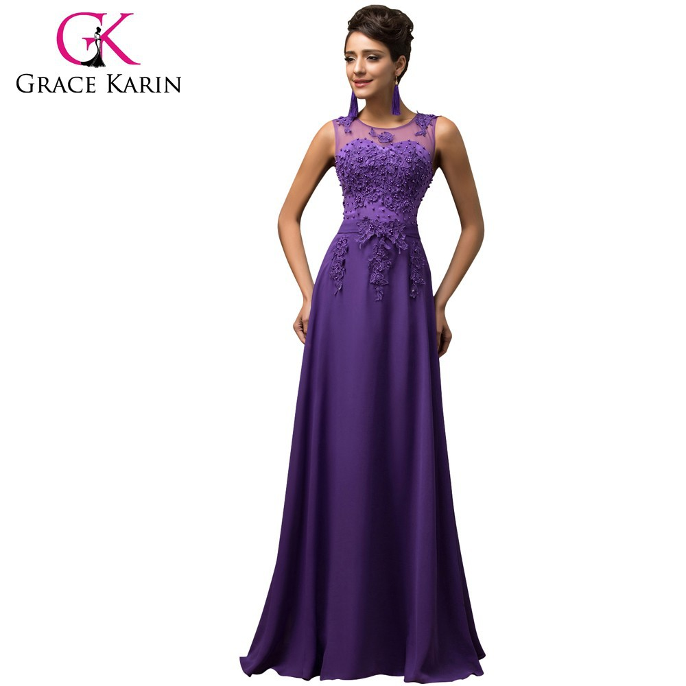 Grace Karin Hot Sale Pink Purple Red Royal Blue Black White Green Sleeveless V-Back Long Chiffon Evening Dress 2017 CL007555-2