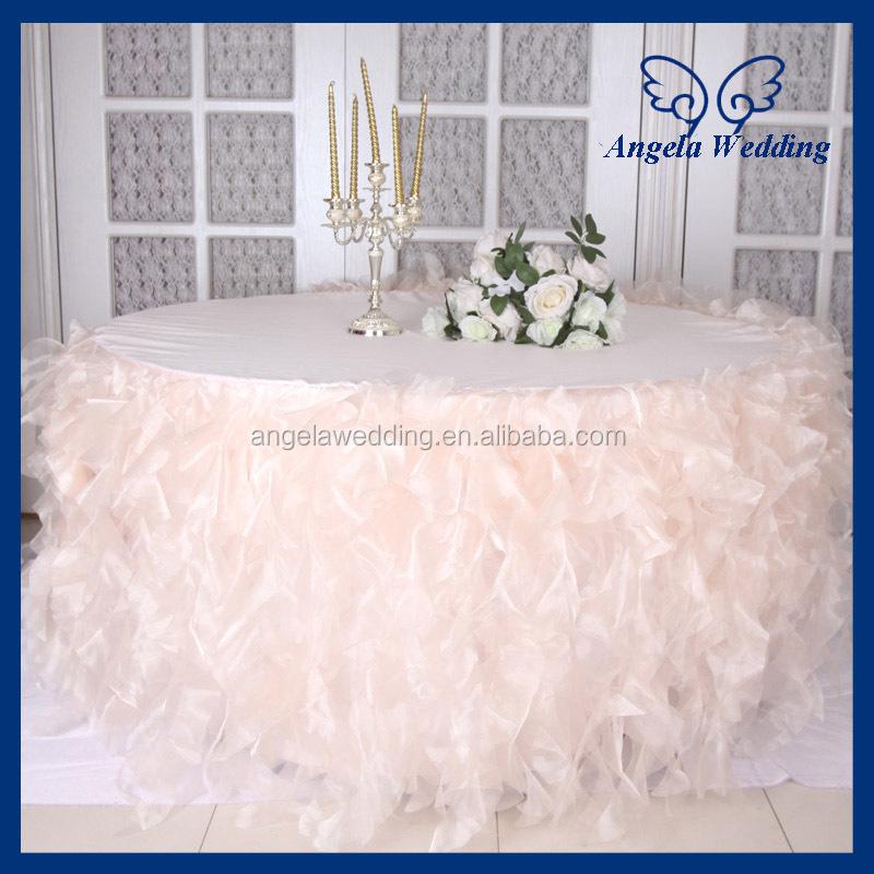 Lovely CL052C New Fancy Elegant Round Flower Fancy Wedding Champagne Taffeta  Tablecloths