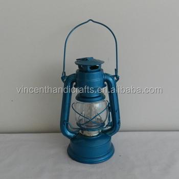 Blue Color Burning Vintage Metal Lantern Oil Lamp