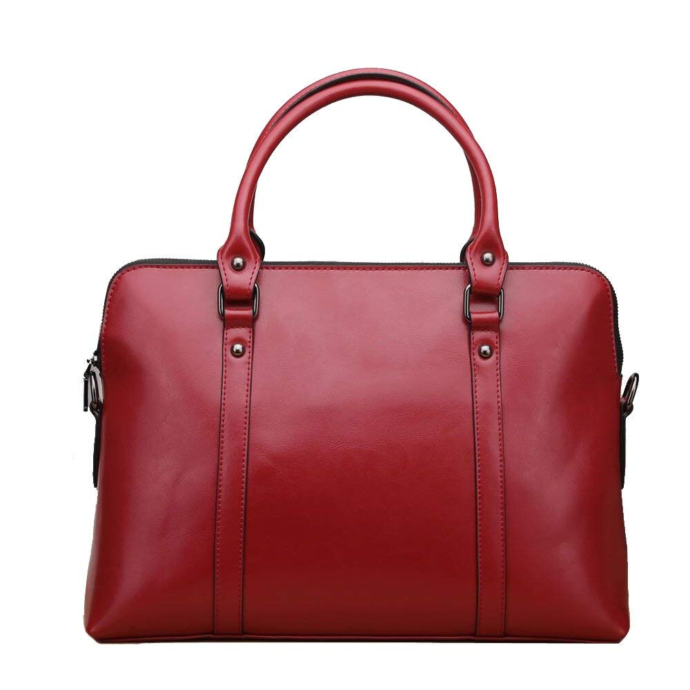 JUNBOSI High-grade Female Bag - Genuine Leather Messenger Bag Large Capacity Bag - Business Lady Briefcase -14 Inch Laptop Bag