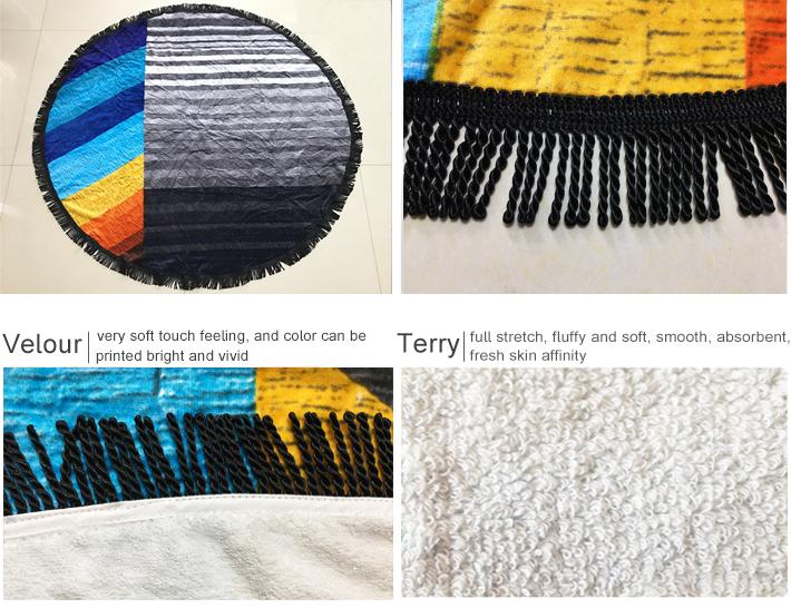 100% cotton velour reactive printed fruit shaped round beach towel vividly