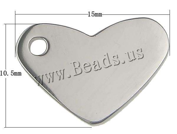 Free shipping!!!Stainless Steel Jewelry Pendants,tibetan, Heart, oril color, 15x10.50x1.50mm, Hole:Approx 2mm, 100PCs/Lot