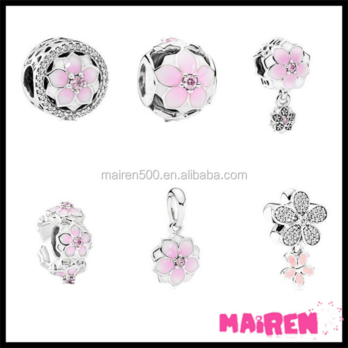 Spring collection mother gift pink mulun flower pendants and bracelet charms for bracelet making