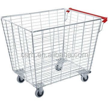 RH-WT14 850*650*770mm Movable wire mesh trolley cage laundry recycling basket trolley