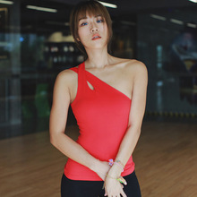 Sexy 4Colors Nylon Spandex Women One Shoulder Sports Yoga Top