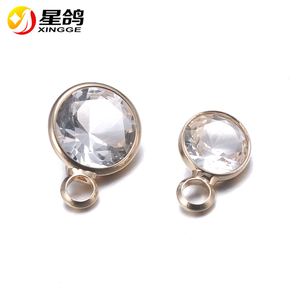 6/8mm crystal charms for for Personalized Necklace handmade Accessories plating gold copper crystal pendants wholesale