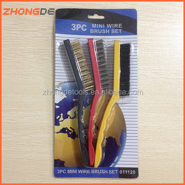 Hand Wire Brush Tools Stainless Steel Brass Nylon Cleaning Dust 3pcs/set