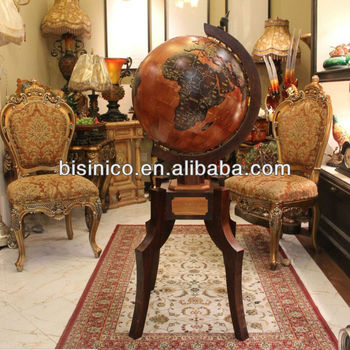 Living Room Decoration Luxury Wooden Globe Stand Embossed Style