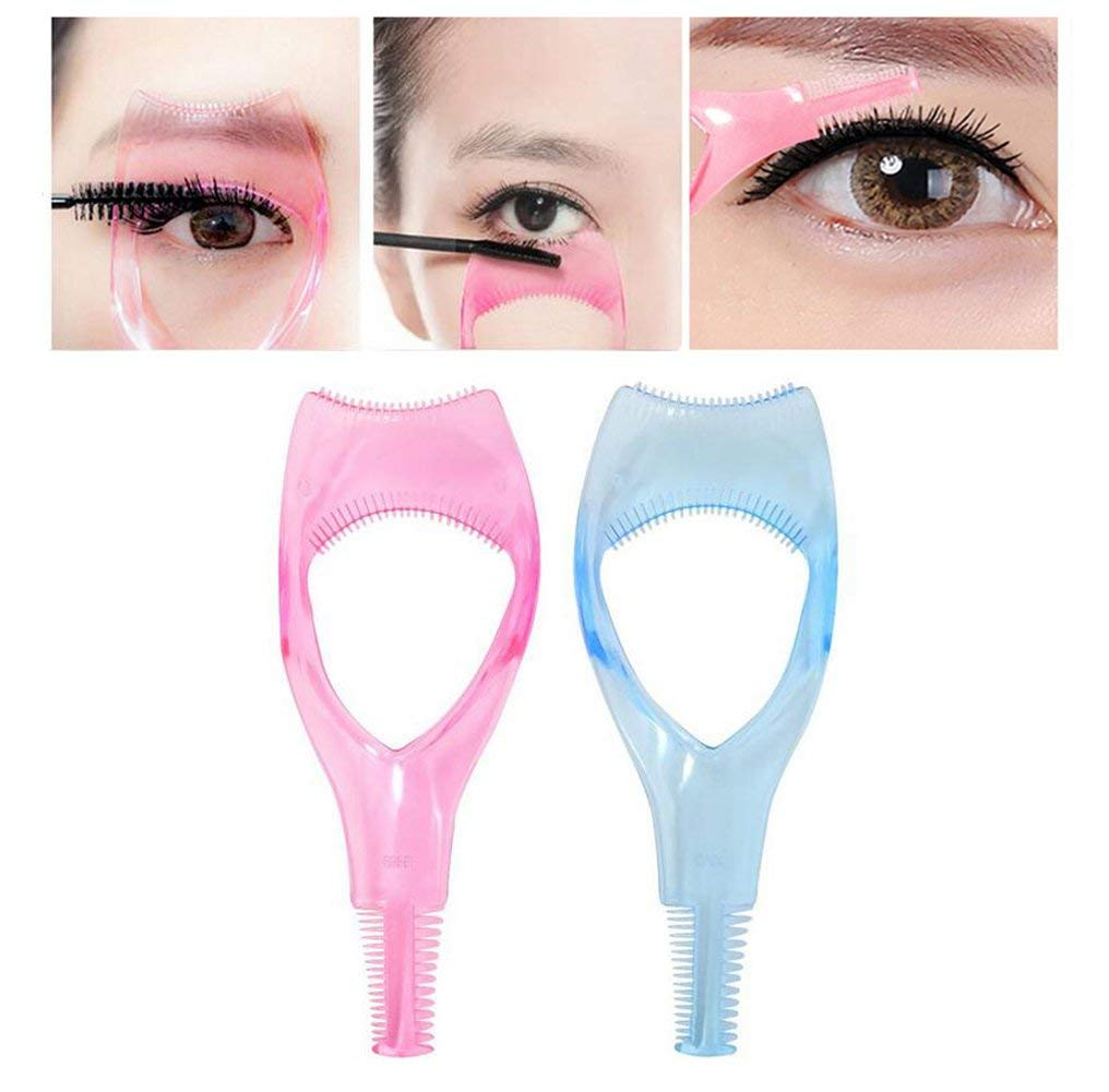 636e32e7848 Get Quotations · 2PCS(Pink + Blue) Plastic Mini Portable 3 in 1 Eyelashes  Tool Mascara Applicator