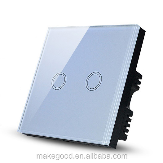 2 Gang one way US type smart home touch light wall power switch,touch switch,smart touch switch