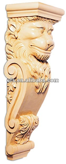 exquisite beautiful decorative lion head hand carved antique solid wood corbel,sculpture