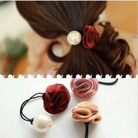 Fashion Women Gold Rose Flower Elastic Hair Band Rope Scrunchie Ponytail Holder