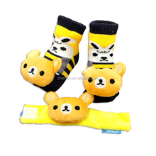 yellow bear baby cute lovely infant foot socks plush toy rattle wrist